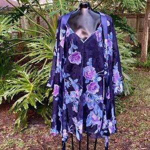 Vintage Blue Floral Print Night Gown & Robe Set